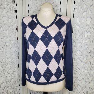 Tommy Hilfiger Women's Argyle V Neck Sweater